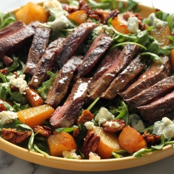 Arugula Skirt Steak Salad with Caramelized Pears Pecans and Gorgonzola Recipe