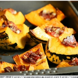 Baked Carnival Squash w Bacon
