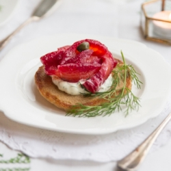 Beetroot Cured Salmon and Blini Recipe