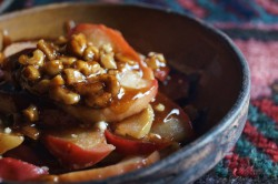 Braised Apples with Goat Cheese Nuts Honey