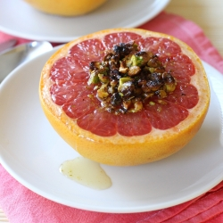 Broiled Red Grapefruit with Honey and Pistachios