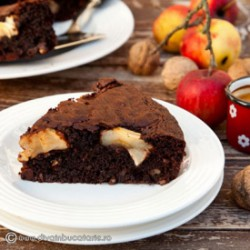 Brownie with Walnuts and Apples