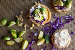 Brussels Sprout Tartlets with White Bean Puree Cabbage and Feta Recipe