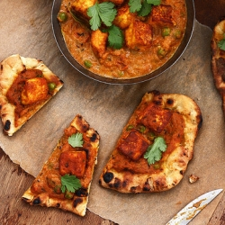 Butter Paneer Curry Naan Pizza
