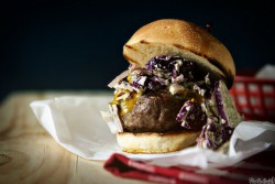 Carolina Burgers with Green Onion Slaw and Mustard BBQ Sauce Recipe