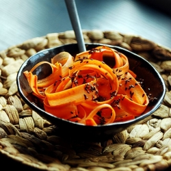 Carrot Ribbons and Roasted Flaxseed