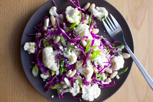 Cauliflower Red Cabbage Feta Salad with Lemon Rosemary Dressing Recipe