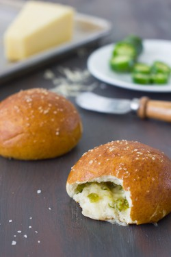 Cheese and Jalapeño Pretzel Rolls