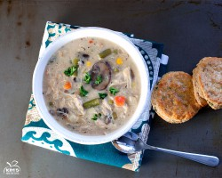 Chicken Pot Pie Soup With Cheddar Biscuits