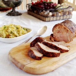 Chili-Rubbed Roast Pork with Spaghetti Squash