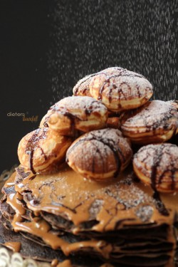 Chocolate Crepe Cake with Peanut Butter Sauce and Chocolate PB Stuffed Aebleskiver