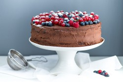 Chocolate Layer Cake with Chocolate Mascarpone Frosting and Berries Recipe