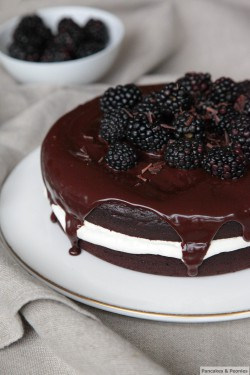 Chocolate Yoghurt Blackberry Cake