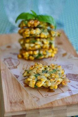 Corn and basil fritters