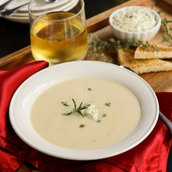 Creamy Potato Soup with Herby Compound Butter