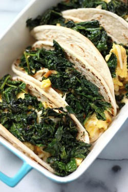 Crispy Kale and Smoked Gouda Scrambled Egg Tacos
