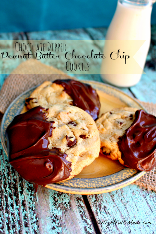 Dipped PB Chocolate Chip Cookies