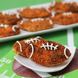 Dorito Crusted Bacon Cheddar Potato Fritter Footballs