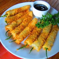 Fried Lumpia Wrapped Beef and Cheese Stuffed Chilis Recipe