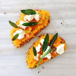 Fried Sage on Feta and Butternut Squash Toast Recipe
