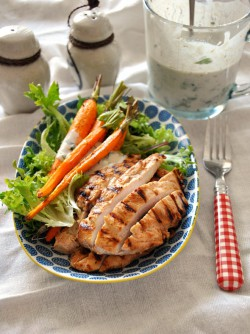 Grilled Chicken Salad with Buttermilk Tahini Dressing Recipe