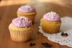 Lemon Cupcakes with Hibiscus Cream Cheese Frosting