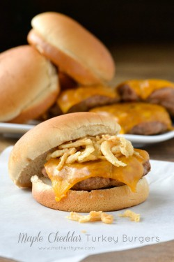 Maple Cheddar Turkey Burgers