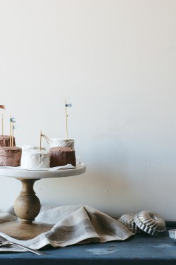 Mini Mocha and Vanilla Bean Layer Cakes Recipe