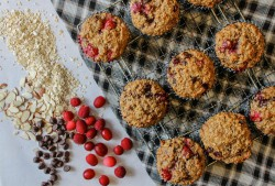 Oatmeal Muffins with Chocolate Almonds and Cranberries Recipe