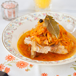 Pan Fried Fish with Warm Carrot Sauce