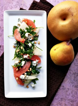 Pear Grapefruit Pine Nuts Blue Cheese Arugula Salad Recipe