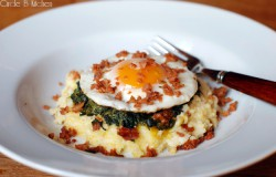 Polenta with Creamy Spinach Fried Egg and Chorizo Recipe