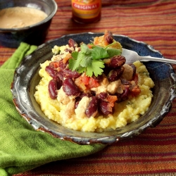 Polenta with Red Beans Cashew Cream and Cilantro Recipe