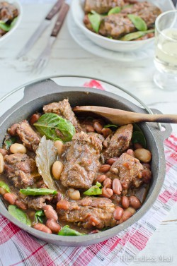 Pork Rib Stew with Beans Tomatoes and Spinach Recipe