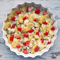 Potato Red Peppers Cauliflower Vegetarian Casserole Recipe
