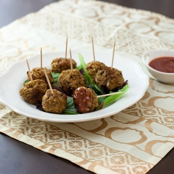 Pumpkin Meatless Meatballs with Cranberry Sauce Recipe