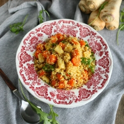 Quinoa Root Vegetables Salad with Curry Vinaigrette Recipe