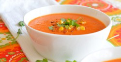 Red Pepper, Corn, and Tomato Soup