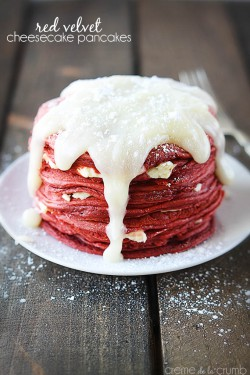 Red Velvet Cheesecake Pancakes with Cream Cheese Icing Recipe
