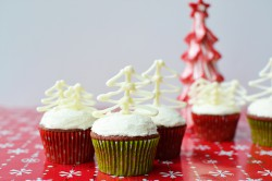 Red Velvet Cupcakes with Chocolate Trees Recipe