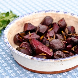 Roasted Beets with Garlic Scapes