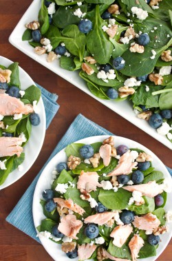 Roasted Salmon Spinach Salad
