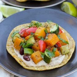 Roasted Vegetable and Bean Tostadas with Chipotle Cream