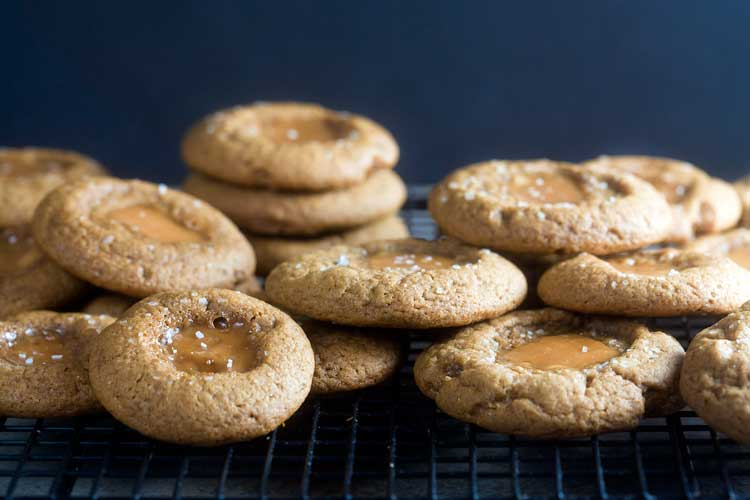 Salted Caramel Gingerbread Thumbprints