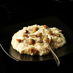 Scamorza and chestnut risotto