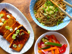 Sesame Noodles with Barbecued Tofu Steaks Recipe