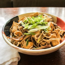 Soba with Tofu and Cremini Mushroom