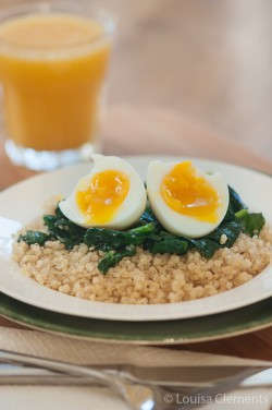 Soft Boiled Egg Over Quinoa and Spinach Recipe