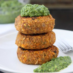 Spicy Lentil Cakes with Gremolata