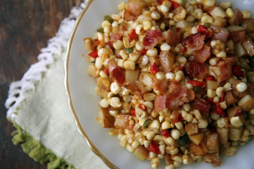 Spicy Potato, Corn, and Bacon Salad